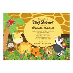 Start your jungle themed baby shower off right with our adorable baby animals safari baby shower invitation. Our cute invitation features a giraffe print background with a palm tree, parrot, giraffe, monkey lion, tiger & zebra set on a jungle leaf with flowers background. The coordination back of this invitation features jungle leaves with the sweetest little monkey! Visit our shop to view this design in different variations and for matching thank you note cards, postage stamps and stickers…