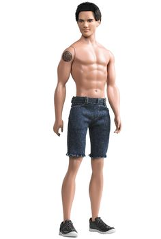 Just like his character in the Twilight movies, Jacob is handsome, athletic, and hunk-a-licious! Wearing his signature short cropped brown hair and unmistakable tattoo, ripped denim shorts, and sneakers, Jacob will surely get hearts racing with those six pack abs! Look out, Edward! Bella is sure to take notice.