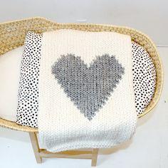 Baby Blanket Heart Cream and Grey Baby Blanket by YarningMade