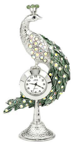 Peacock  Miniature Clock