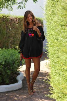 black for summer - mytenida Style Casual, Preppy Style, Casual Chic, Boho Chic, Boho Outfits, Summer Outfits, Ibiza Dress, Estilo Hippie, Moda Boho