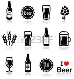 Illustration of Beer vector icons set - bottle, glass, pint vector art, clipart and stock vectors. Beer Images, Beer Hops, Tattoo Bein, Bottle Tattoo, Pint Of Beer, Beer Label, Icon Set, Beer Bottle, Glass Bottle