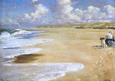 Peder Severin Krøyer - Marie Krøyer painting at the Beach of Stenberg Skagen, Stavanger, European Paintings, Am Meer, Beach Scenes, Landscape Paintings, Beach Paintings, Beach Art, Ciel