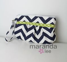 In time for Christmas! READY to SHIP Coco Chevron Clutch  Zippered Wristlet by marandalee,