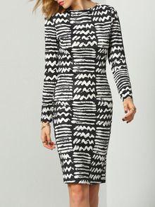 فستان أسود أبيض جولة الرقبة طباعة هندسية