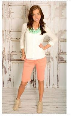 I love the peach and teal that they put together. Shoes aren't my favorite with that outfit.