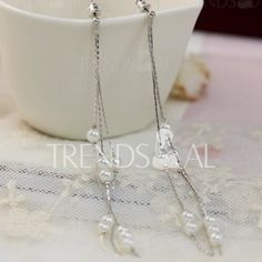 $6.65 Pair of Cute Tassels Pendant Faux Pearl Decorated Earrings For Women
