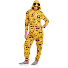 License - Emoji Women s and Women s Plus Sleepwear Adult Onesie Union Suit  Pajama (Sizes XS-3X) - Walmart.com. Emoji PyjamasUnion Suit PajamasOne Piece  ... 7670625bf