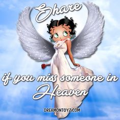 Share if you miss someone in Heaven • More Betty Boop graphics & greetings ➡ http://bettybooppicturesarchive.blogspot.com/  And on Facebook https://www.facebook.com/bettybooppictures/ Beautiful Betty Boop angel in a lovely white gown, holding a red rose