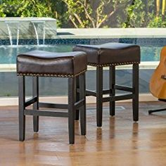 Chantal Backless Brown Leather Counter Stools w/ Brass Nailheads (Set of 2)