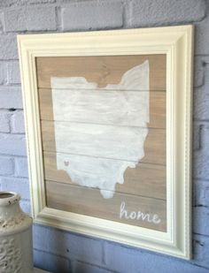 Cute DIY state silhouette wall art. Easier than you might think to make! canarystreetcrafts.com