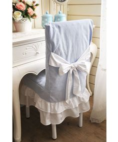 Blue Slipcover Lovely Chair Cover Dining Room Decorative New