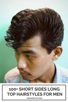 """A perfect cut from the """"Grease"""" romantic comedy film, this haircut is a combination between Jelly Rolls hairstyle and Elephant's Trunk. Make sure your barber is an expert in Classic men hairstyles before. #shortsideslongtopmenhairstyle #shortsideslongtop #JellyRollshairstyle #ElephantsTrunkhairstyle #menhairstyles #manhaircuts Top Hairstyles For Men, Crown Hairstyles, Haircuts For Men, Skin Fade Hairstyle, Roll Hairstyle, Short Sides Long Top, Long Tops, Mid Skin Fade, Razor Fade"""