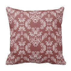 Elegant White and Marsala vintage damask Throw Pillow Cushion by #PLdesign #WhiteDamask #DamaskGift #damask
