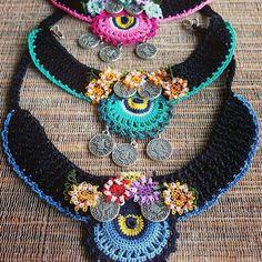 Crochet Necklace with Turkish Crochet oya Irish Crochet, Crochet Yarn, Crochet Flowers, Diy Necklace Bracelet, Crochet Bracelet, Boho Jewelry, Jewelry Crafts, Beaded Jewelry, Jewellery