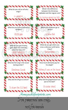 Free Printable Christmas Jokes for Elf on the Shelf - Honeysuckle Footprints, year I thought it would be an awesome idea for Ralphie to bring Christmas joke cards. These Christmas jokes are sure to have your little one laug. Christmas Jokes For Kids, Funny Christmas Jokes, Christmas Activities, Christmas Elf, Christmas Humor, Christmas Eve Box Ideas Kids, Christmas Riddles, Christmas Gift Exchange, Christmas Games