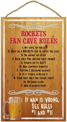 Houston Rockets Fan Cave Rules Wood Sign Wood Sign at AllPosters.com