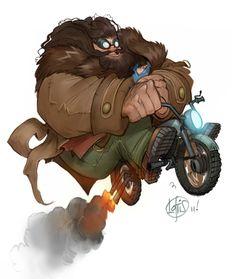 Hagrid and Harry by Cory Loftis (Harry's full head of hair cracks me up)