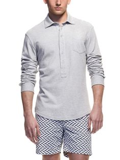 Adam Long-Sleeve Polo Shirt by Orlebar Brown. This polo shirt has barrel cuffs. And six buttons. And it's amazing
