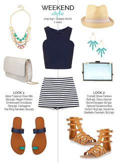 Weekend Style - Crop Top Striped Shorts 2 Ways, Festival Style