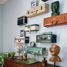 """Suitcase Shelves - Creative Storage Solutions - 25 """"Cheap and Easy"""" Organizers You Can Make - Bob Vila"""