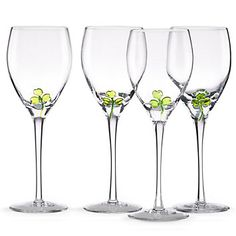 Shamrock 4-piece Wine Glass Set from Lenox. New and just in time for St. Patty's Day!