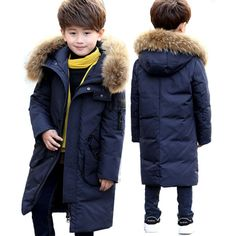 High Quality -30 Degree New Boy's Long Down Jackets For Youth Children Down Coats Boy Winter Fur Coat Boys Parka Kids Clothes. #mulkstores #children #childfashion #winterfashion #coat #kidsclothes #boyscoat