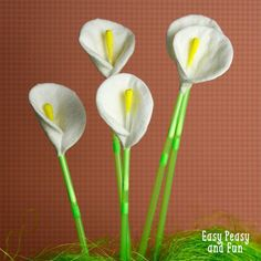 Q-Tip Calla Lily Flowers | 22 Unique Q-Tip Crafts | Cheap DIY Crafts For Kids - Enhance The Motor Skills of your Children with these Fun and Cool DIY Projects | http://diyready.com/q-tip-crafts-diy/