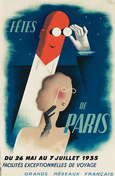 Poster by Jean Carlu (1900-1997), 1935, Fêtes de Paris, Alliance Graphique, Paris.
