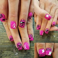 October is also Breast Cancer Awareness month Fingernail Designs, Acrylic Nail Designs, Nail Art Designs, Acrylic Nails, Fancy Nails, Pink Nails, Pretty Nails, Halloween Nail Designs, Halloween Nails