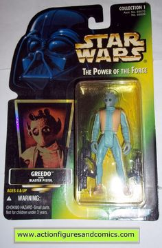 star wars action figures GREEDO hologram green card power of the force 1996 hasbro toys moc mip mib