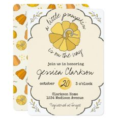 A Little Pumpkin Vintage Baby Shower Invitation - invitations custom unique diy personalize occasions