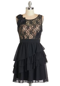 So This is Lovely Dress. Lovely is the first word that comes to mind when you spy your reflection wearing this black and cream fit-and-flare dress. #black #prom #modcloth