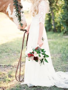 Lace Wedding Dress for an Equestrian Bride | Kristen Kilpatrick Photography | In the Golden Light of Summer Wedding