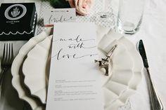 Justine Ma - traditional + contemporary black white menu / calligraphy