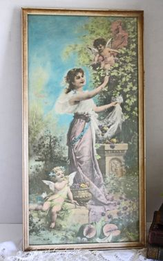 Antique Victorian Goddess Cherub Print