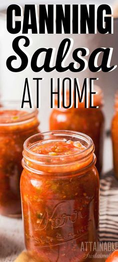 Looking for a great salsa recipe to use up your garden fresh tomatoes? This salsa recipe is full of fresh summertime flavor and is great for stocking the pantry. Use it as a dip with chips, or as an addition to recipes like chili or soup. Salsa Canning Recipes, Canning Salsa, Homemade Canned Salsa, Fresh Canned Salsa Recipe, Homemade Salsa Recipes, Garden Fresh Salsa Recipe, Homemade Chili, Best Salsa Recipe, Dressings