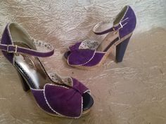 POETIC LICENCE London Sexy Purple Gold Suede Platform Cork Heels sz 6.5 M #PoeticLicence #PlatformsWedges #Casual