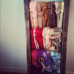 Distressed Scarf Ladder!!! So easy to make!!!... Need to do this in my closet room. Hello genius!