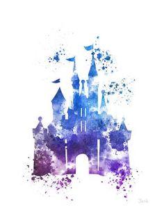 Cinderella Castle ART PRINT 4e illustration Edition, Disney, princesse, technique mixte, Home Decor, pépinière, Kid