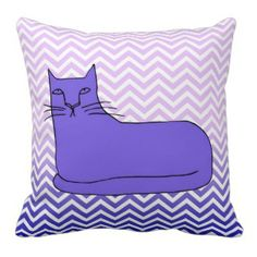 Purple Chevron Cat Pillow