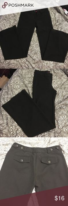 Black Dress Pants  Black boot cut slight flare wide leg dress pants or slacks. They are very comfy and soft just too small for me now. They have a button adjustable waist. Perfect for the office or special occasion. NOT banana republic! Tags: secretary school business formal interview funeral wedding dress clothes church work Banana Republic Pants Trousers