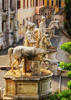 Estatuas, Esculturas, Ilustración, Roma, Italia, Patio