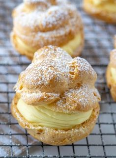 My famous authentic Homemade Cream Puffs recipe: light and airy cream puffs fill. - My famous authentic Homemade Cream Puffs recipe: light and airy cream puffs fill. My famous authentic Homemade Cream Puffs recipe: light and airy cr. Cream Puff Filling, Cream Puff Recipe, Cream Puff Dessert, Italian Pastry Cream Recipe, Custard Filling, Pastry Recipes, Baking Recipes, Cookie Recipes, Just Desserts