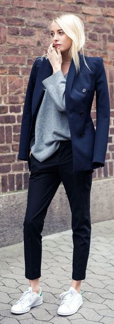 Navy Blazers On Neutrals Outfit Idea