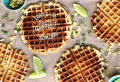 Corn & Scallion Belgian Waffles. I'll be putting fried chicken on top, thank you very much.