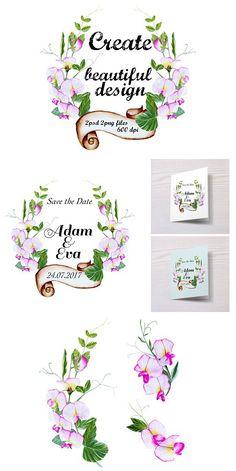 Watercolor Bundle Sweet Peas Wedding Card Templates  Wedding
