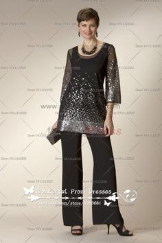 Sequins Spring cheap two Piece mother of the bride dress pants sets nmo-074