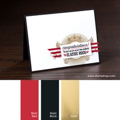 Real Red, Basic Black, Gold #StampinUpColorCombos