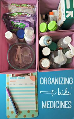Great tips for organizing your kids& medicine so everything is easy to find when someone is sick in the middle of the night. Plus - two free printables to track medication AND remember what first aid supplies you need to stock up on. Be sure to read Medicine Storage, Medicine Organization, Storage Organization, Bathroom Organization, Organized Mom, Getting Organized, Diy Cleaning Products, Cleaning Hacks, Ideas Prácticas